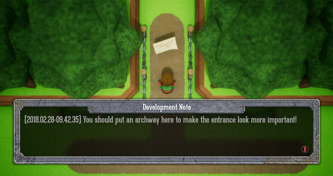 The Dialog System showing the note